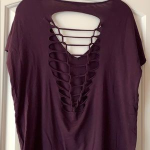 Purple express one eleven tee with open back